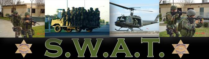 A collage of photos showing SWAT team activities.