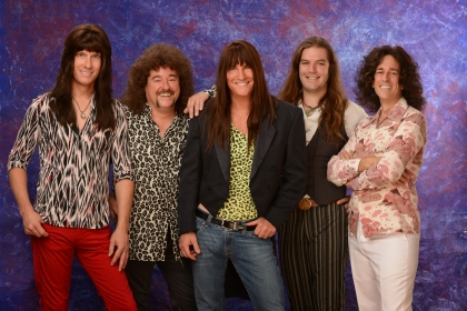 Journey cover band - group of five men with multiprint shirts