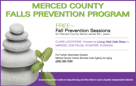 Text Merced COunty Fall Prevention Program Free Sessions fo rSeniors over 60 years call 209-385-7550