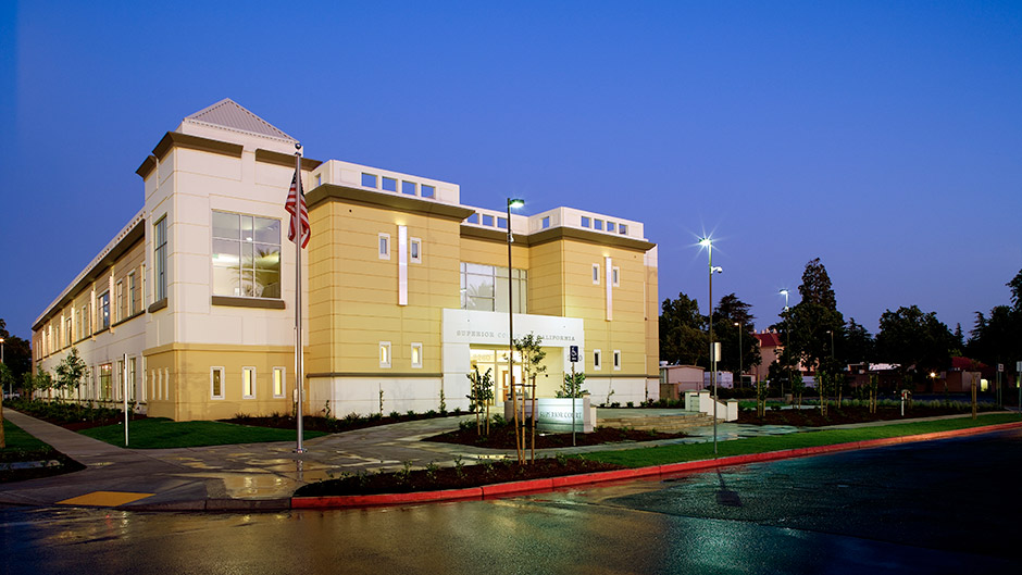 Exterior image of Merced County Courthouse at twilight
