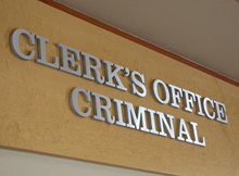 Sign reading Clerk's Office Criminal