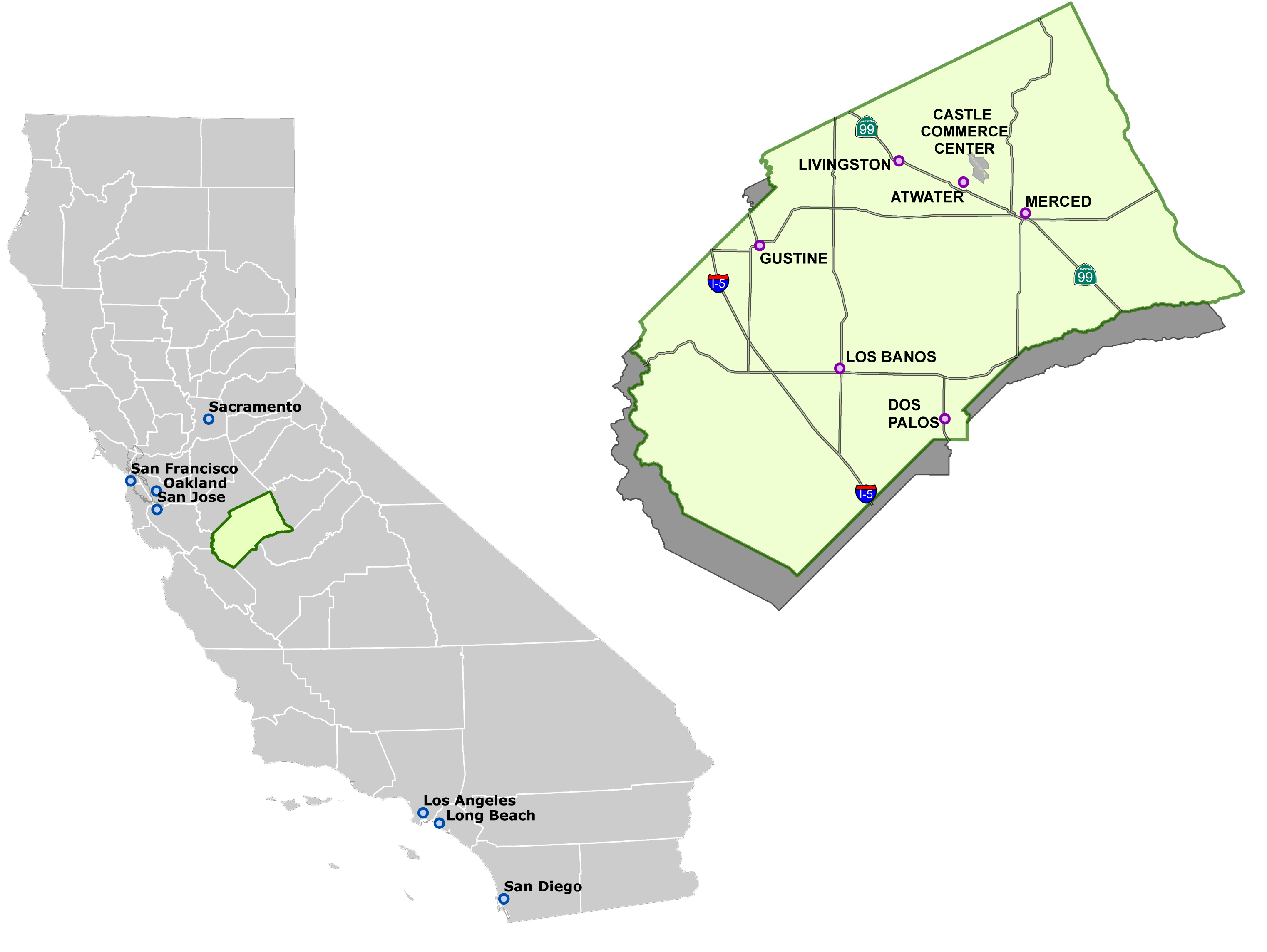 Map of Merced county in outline of city of California