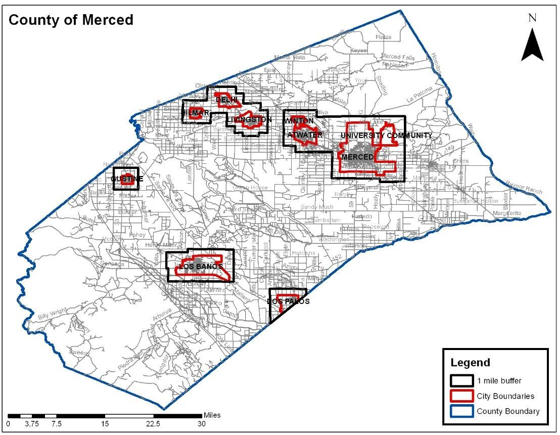 Map of Merced County Priority Response areas