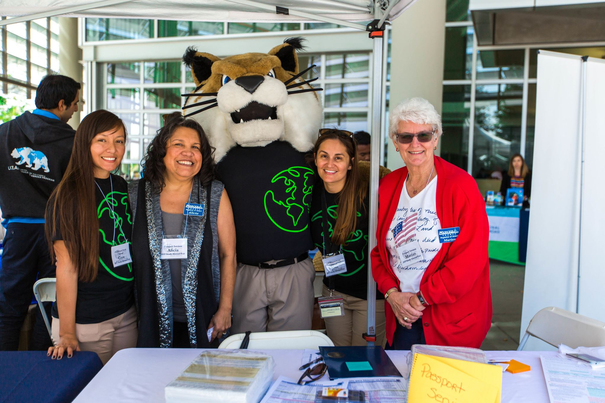 UC Merced Study Abroad Fair - Staff with Mascot and UC Staff