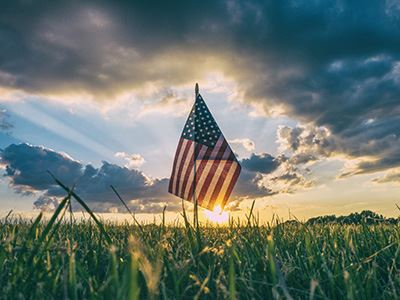 Photo of Hand-Size U.S. Flag Standing in Sunset-Lit Grass