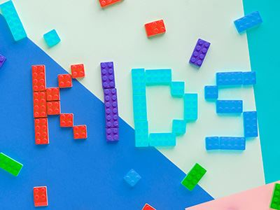 &#34Kids&#34 Spelled out with Lego-Style Bricks