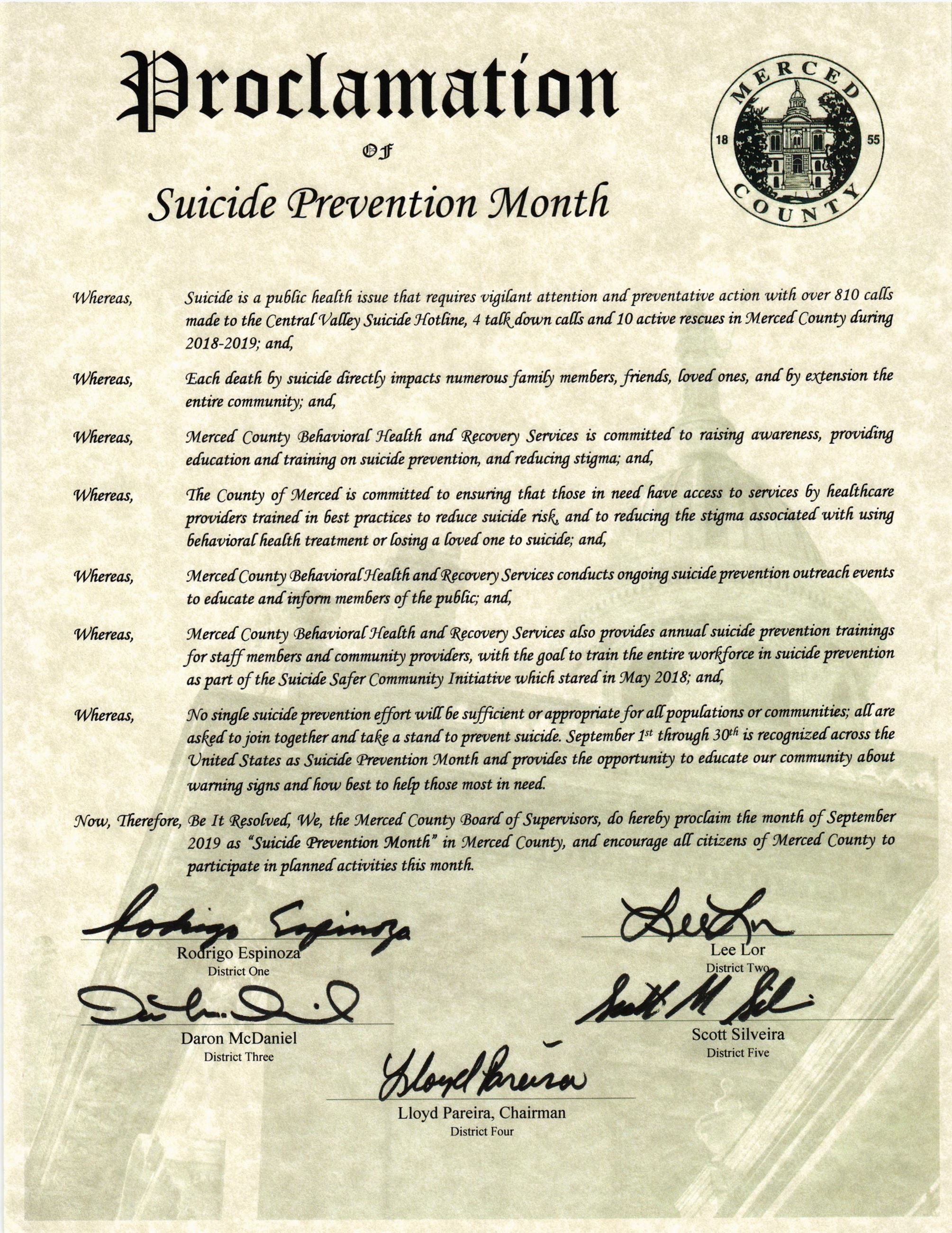 Suicide Prevention Week Proclamation 2018