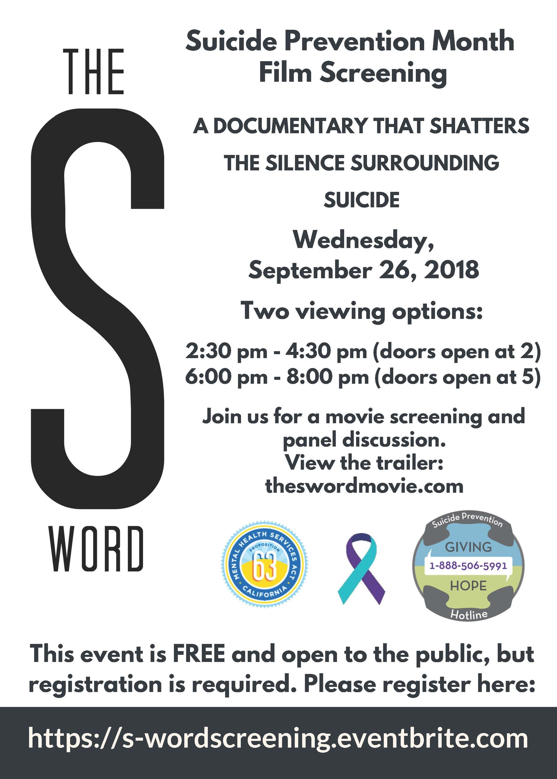 The S Word Screening Flyer