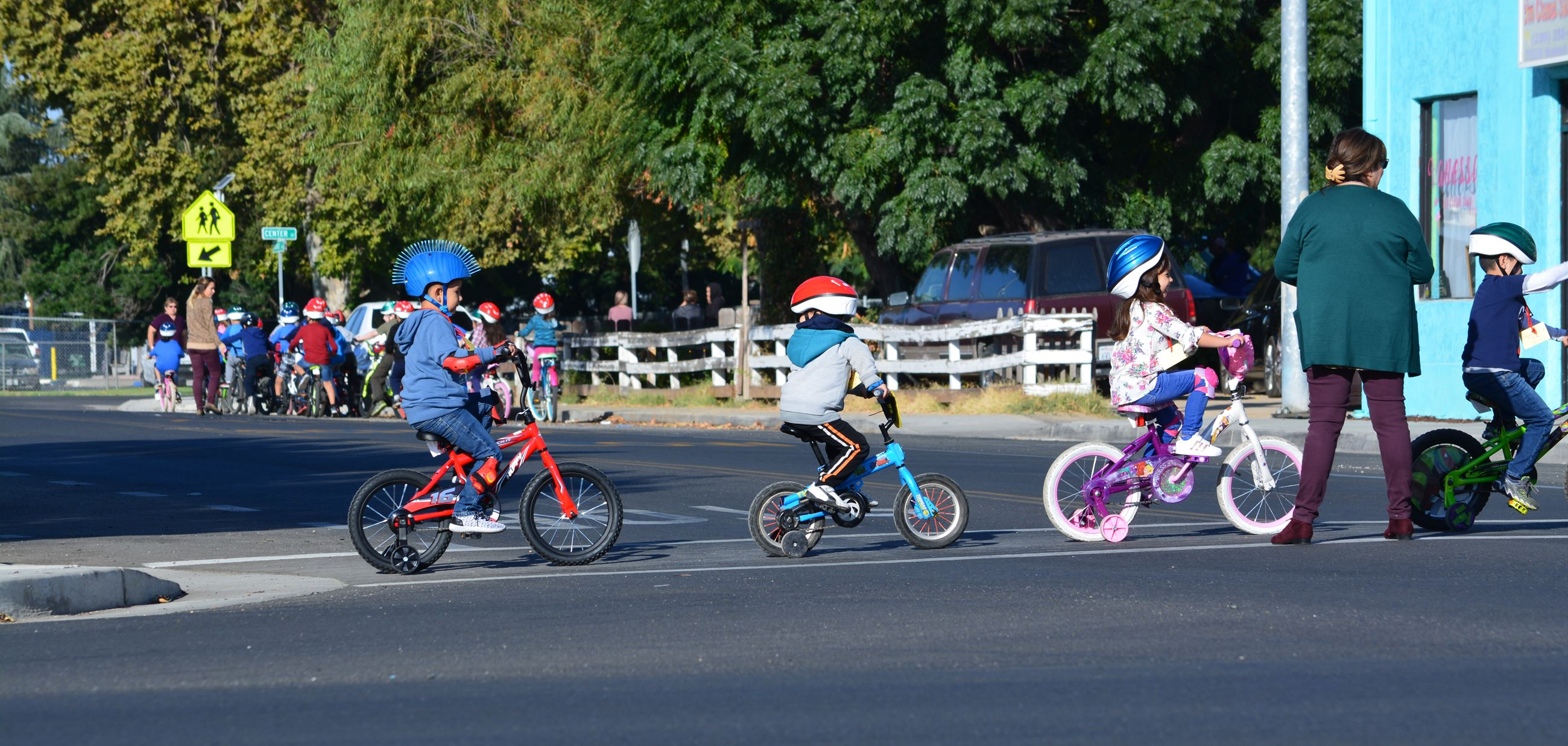 Kids Riding Bikes in a Line
