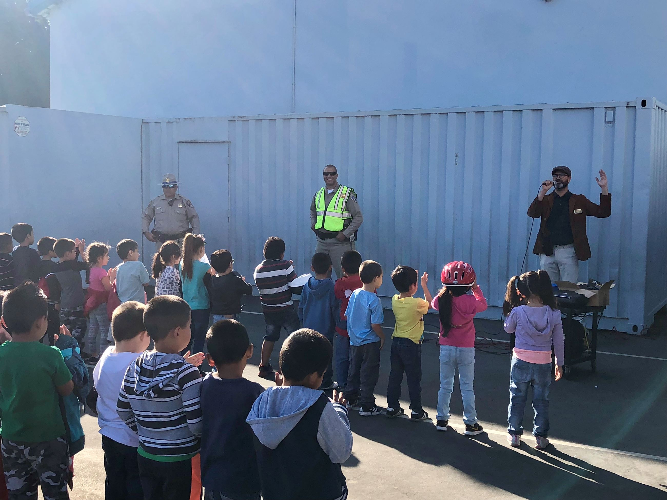Officers Doing Safety Training with Group of Children