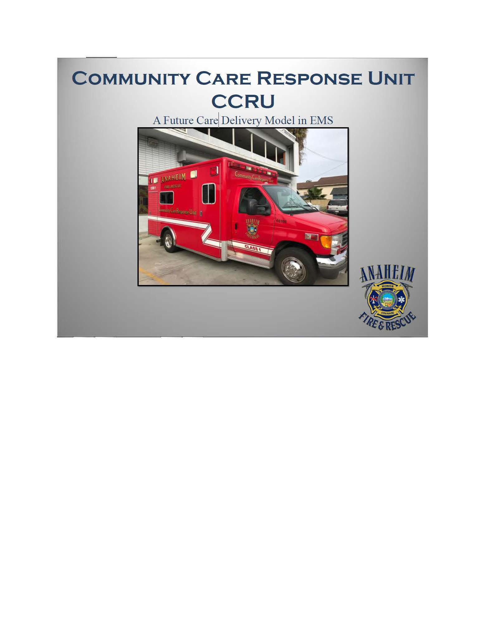 Community care Response Unit CCRU Cover