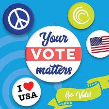 Your vote matters written in text on a white circle