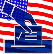 Graphic of a blue hand placing a ballot in a box