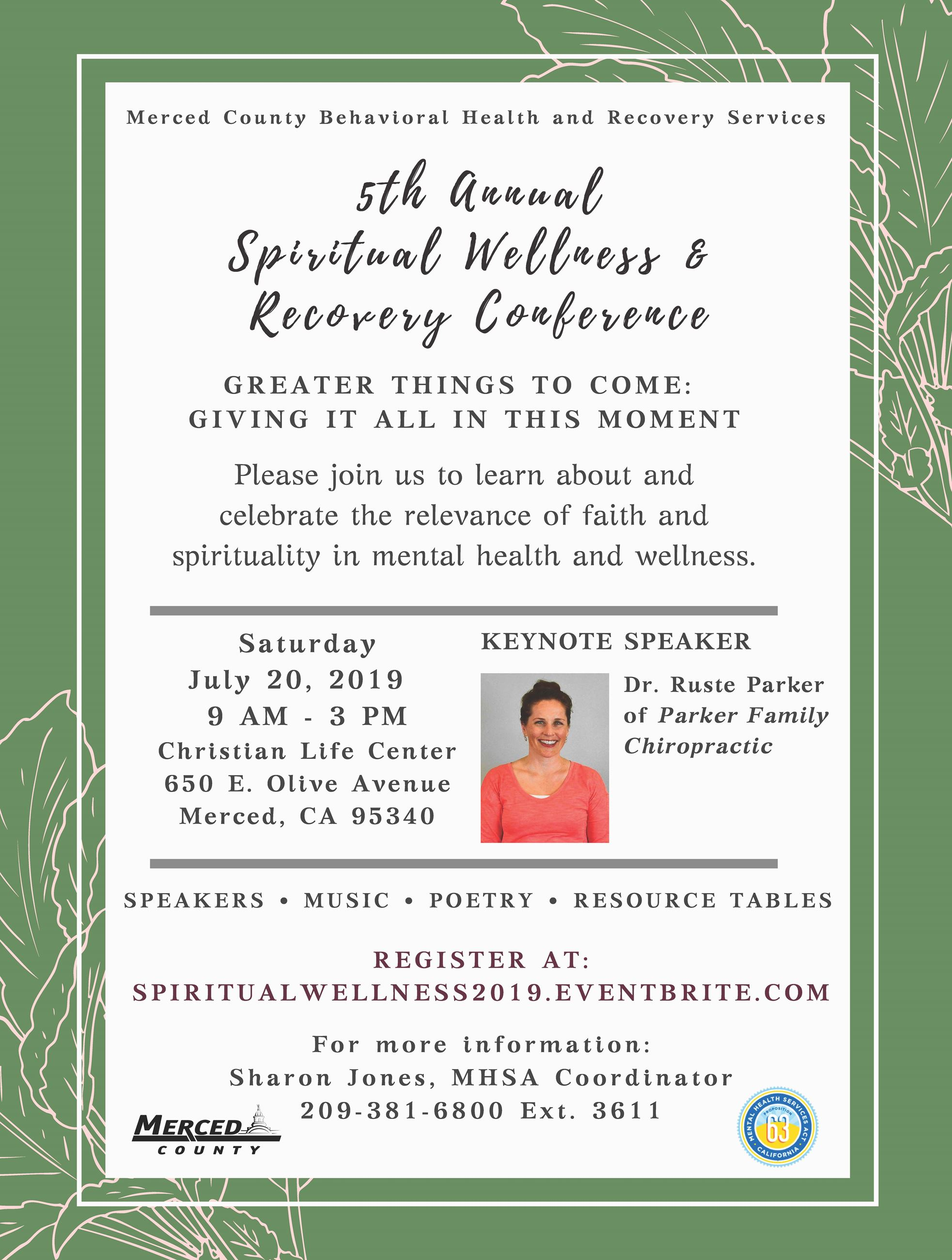 Picture of the 2019 Spiritual Wellness and Recovery Registration Flyer