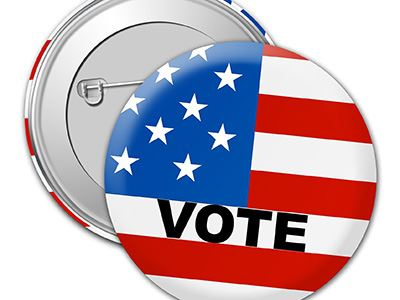 Vote Pins with USA Flag
