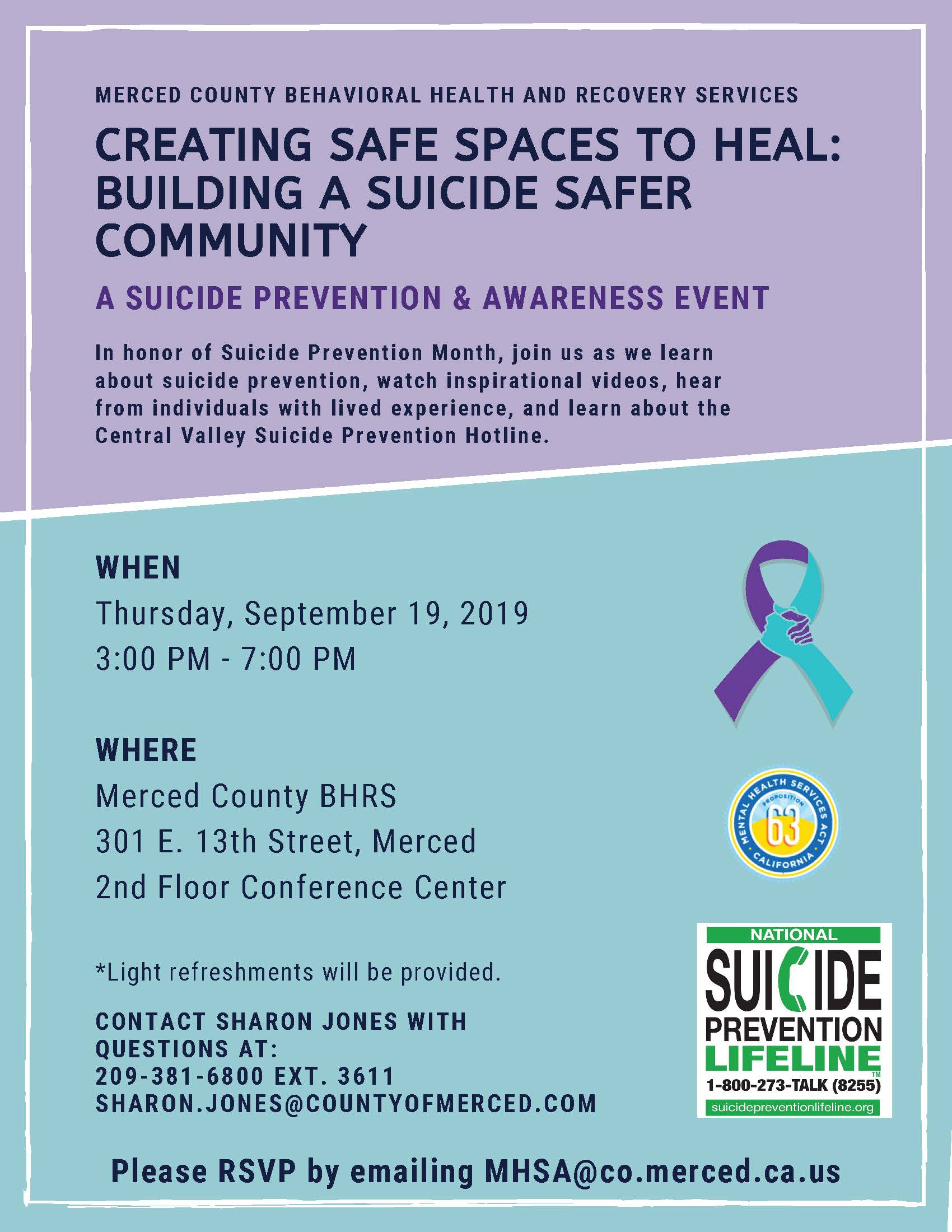 Flyer for Suicide Prevention Month Event on 9-19-19