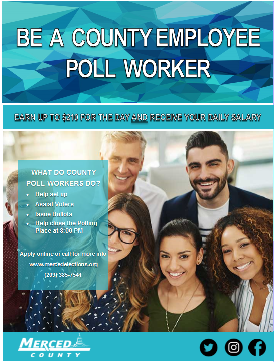 Merced County Employee Poll Worker Flyer
