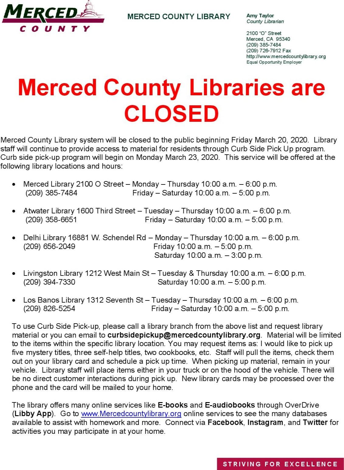 Merced County libraries are closed